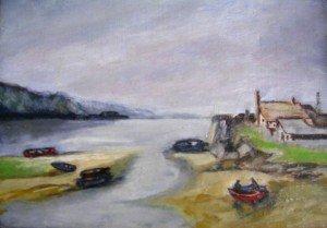 bord de mer et barques pêcheurs (non signé) dans illustration inconnu-bord-de-mer-barque-pecheurs-300x209