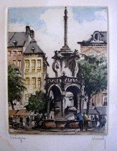 Gravure de Liège et Bruges  - Signature à confirmer dans illustration gravure1-232x300