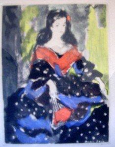 Style espagnole ou Arlésienne - Signature Grau Sala (1911-1975) - Gravure - Artiste coté AKOUN dans illustration gravure2-234x300