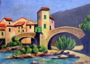 La double arche ! dans illustration village-au-bord-de-leau-et-pont-300x216