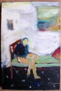 Femme assise sur le lit - Artiste croûtesque inconnu dans illustration femme-assise-sur-le-lit-202x300