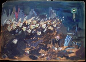 Inconnu peinture sur carton dans illustration inconnu-sur-carton-scene-foule-et-blesses-300x218