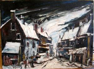 Une rue enneigée dans un village enneigé avec personnages ! dans illustration rue-dun-village-avec-personnages-300x223