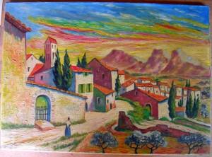 Village du sud, peut-être la provence...! dans illustration village-du-sud-giorgeni-300x222