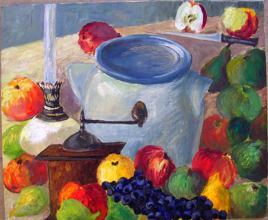 Moulin, fruits, pot, couteau....Inconnu ! dans illustration moulin-fruits-et-pot-sur-table-inconnu