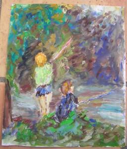 Esquisse de Janine Bories-Trébosc dans illustration les-enfants-pecheurs-256x300