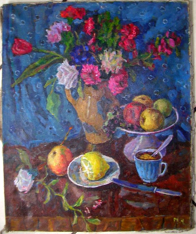 Bouquet de fleurs sur fond bleu - artiste peintre russe dans illustration bouquet-fleur-russe-hm