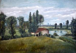 paysage maison et étang