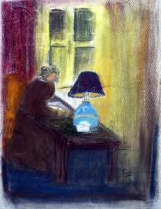 la femme a la lampe bleue