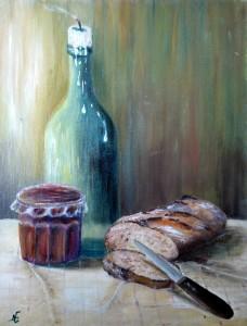 huile confiture et pain