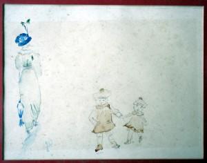 etude 1913 femme et deux enfants
