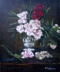 tableau vase et fleurs