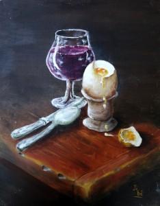 Verre cuillère et oeuf peinture sur isorel