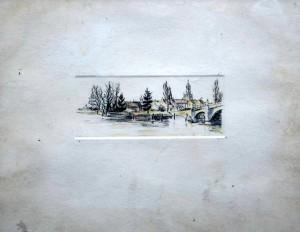 village au clocher et pont