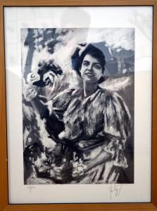 la femme au bouquet de fleurs (litho NetB 27sur 50)