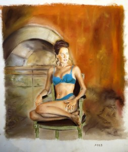 femme en sous vetements pastel
