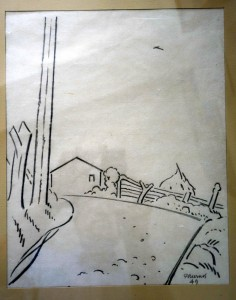 dessin n° 60 signé et daté 1949 intitulé chemin à St Christophe