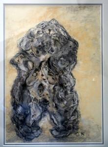 pastel femme nue signée JK