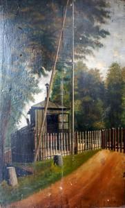 peinture sur bois ligne chemin de fer
