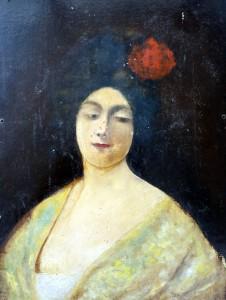 femme à la fleur rouge