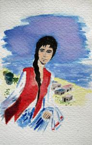 aquarelle d'espagne la fille en rouge