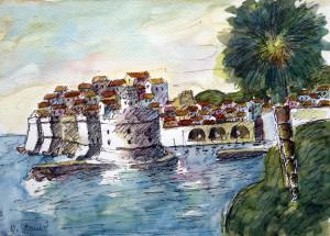 aquarelle port signée N Stani....