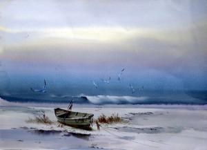 barque et oiseaux bord de mer