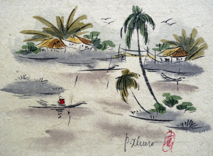 paysage lacustre asiatique