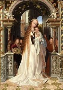 La vierge à l'enfant entourée d'anges (partie centrale) Quentin Metsys