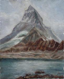 Montagne et rivière croutesque (toile 27x22)