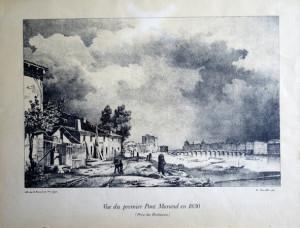 Vue du premier pont morand en 1830 (prise des brotteaux)
