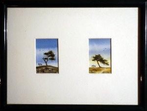 2 aquarelles (format 6x4 chaque)