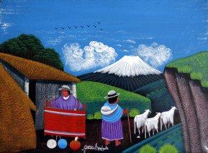 art Tigua sur peau de mouton format 14.5x20