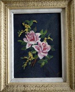 Bouquet de roses  - sur bois (Format 26x21)