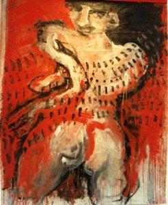 Femme en terre latine - Acrylique sur toile libre -  (format 143x119)