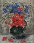 Bouquet aux coquelicots et marguerites. Huile sur panneau, signée en bas à droite. 39,5 x 31,5 cm - gazette drouot