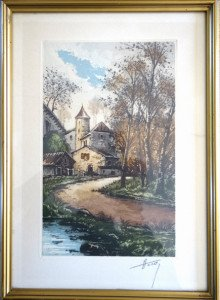 gravure feuillet 35x25 - bassin 27 x 17 signature crayon