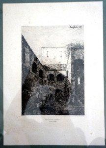 format eau forte originale 20 x 14 signée dans la planche - titre Une cour à Charriez (Haute Saône)