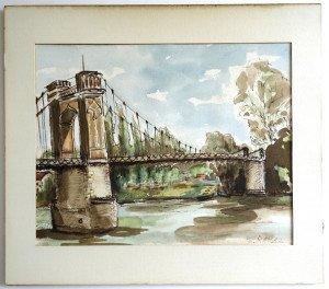 aquarelle Pont de Trévoux format 23 x 29 - daté 16 05 1985