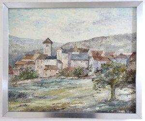 toile format 46 x 38 titre au dos Village de Blanot (saône et loire)