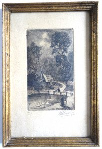 gravure num  4 sur50 - format feuille 20x13 bassin 12.5x7 -signature crayon