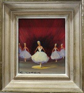 Huile sur bois intitulée Les Danseuses par Delcampe - format 15 x 13