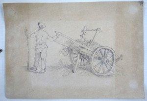 anonyme dessin sur papier (charette) - format 19x27