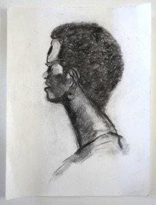 anonyme dessin sur papier dessin (portrait femme noire) format 32x24