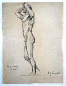 dessin sur papier - L'âge d'airain d'après Rodin - format 28x20.5