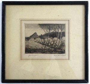 gravure feuillet  et marquise 21x22 - bassin 9x11.8 - timbre à sec (bas gauche)