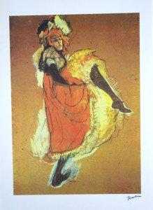 Litho - Jane Avril dansant 2 - format 64x46 sur 77x57