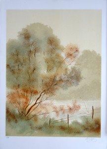Lithographie E.A - Paysage barrière droite - Format 64x48 sur 76x54.5