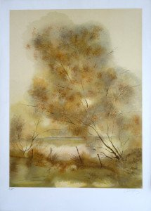 lithographie E.A - Paysage barrière gauche - Format 64x48 sur 76x54.5