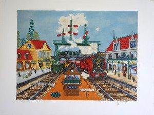 lithographie (gare Eastwood Northwood) sur papier Lana - v225 ex - Format 38x51 sur 50x65.5